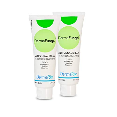 Dermafungal Athlete's Foot Antifungal Cream - 3.75 Oz Tube, 2 Pack - Treats Jock Itch, Ringworm and Dry Itchy Skin - 2% Miconazole Nitrate – Latex Free, Dermatologist Tested – by DermaRite