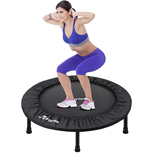 MOVTOTOP Mini Trampoline 38 Inch, Folding Indoor Trampolines with Safety Pad, Fun Mini Fitness Rebounder Trampoline for Kids Adults Indoor/Garden Workout Max 220lbs