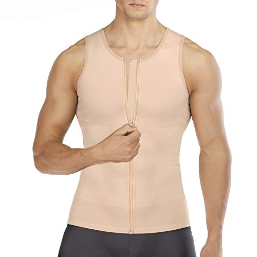 Wonderience Compression Shirts for Men Undershirts Slimming Body Shaper Waist Trainer Tank Top Vest with Zipper (Beige, Medium)