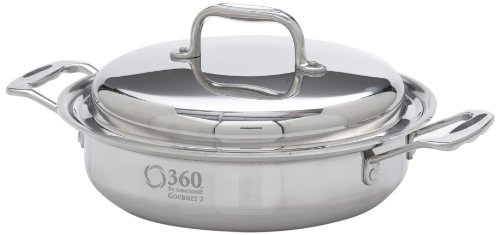 360 Stainless Steel Saute Pan with Lid, 10' Skillet, Handcrafted in the USA, Induction Cookware, Waterless Cookware, Dishwasher Safe, Oven Safe, Surgical Grade Stainless Steel Cookware (2.3 Quart)