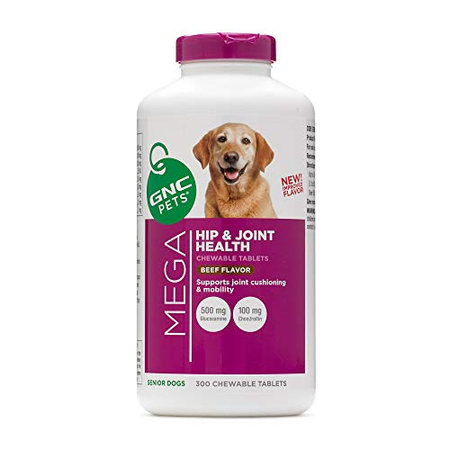 GNC Pets Ultra Mega Hip & Joint Health Chewable Tablets Dog Supplement, 300 Count - Beef Flavor | Supplement for Dogs Supports Joint Cushioning and Mobility