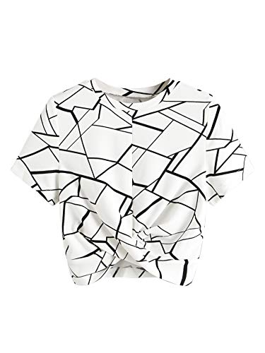 SweatyRocks Women's Casual Twist Front Short Sleeve Crop Top T-Shirt Geometry White Large