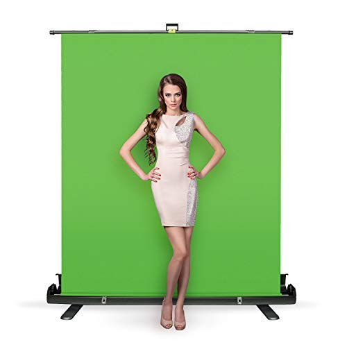Julius Studio 5 ft.(W) x 6 ft.(H) Collapsible and Retractable Green Chromakey Screen with Built-in Aluminum Case, Photo Video Studio, JSAG445
