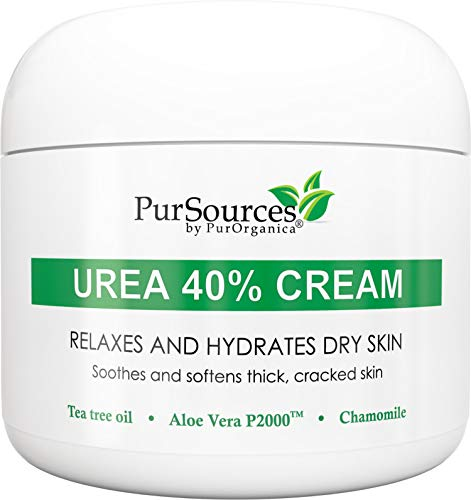 PurOrganica Urea 40% Foot Cream – With Pumice Stone and Brush - Callus Remover - Moisturizes & Rehydrates Thick, Cracked, Rough, Dead & Dry Skin - For Feet, Elbows and Hands - 4 oz