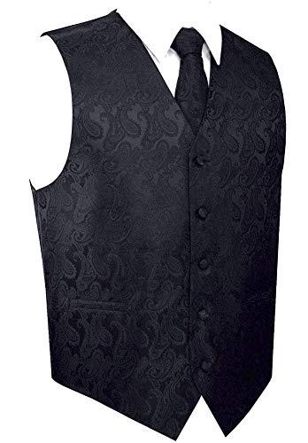 Men's Black Paisley Design 3pc Dress Vest NeckTie Pocket Square Set for Suit or Tuxedo (XL (Chest 46))