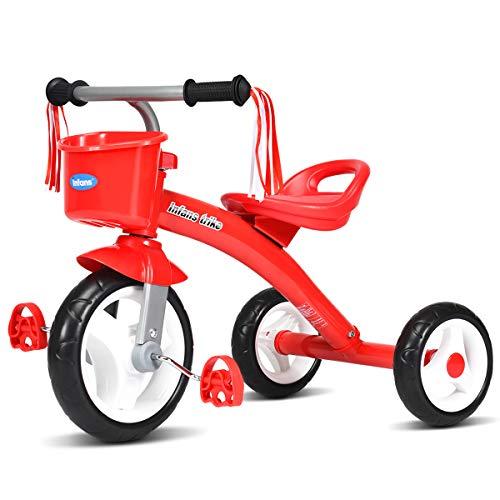 INFANS Kids Tricycle Rider with Adjustable Seat, Storage Basket, Premium Quiet Wheels, Non-Slip Handle (Red)