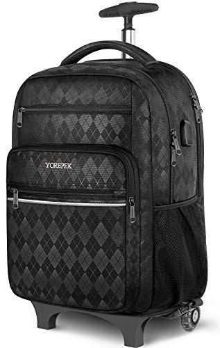 Rolling Backpack, 17 Inch Large Roller Backpack for Women Men with USB Charging Port,Trolley School Backpack,Carry on Wheeled Laptop Backpack Luggage Suitcase for College Travel Business,Black