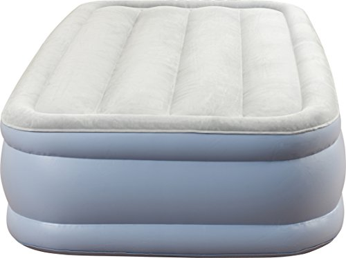 Simmons Beautyrest Hi-Loft Inflatable Mattress: Raised-Profile Air Bed with External Pump, Twin, Grey/White