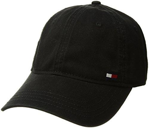 Tommy Hilfiger Men's Dad Hat Billy Corner Flag Cap, Black, O/S