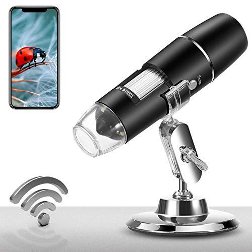 Wireless Digital Microscope USB Handheld Microscope,1X-1000X Portable Mini WiFi 1080P Endoscope Camera with 8 LED Lights for iPhone/iPad/Smartphone/Tablet/PC