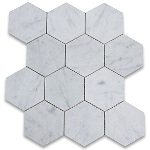 Stone Center Online Carrara White Italian Carrera Marble Hexagon Mosaic Tile 4 inch Honed Venato Bianco Bathroom Kitchen Backsplash Floor Tile