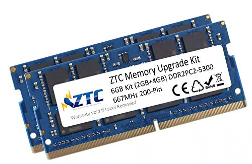 ZTC 6GB Kit (2GB+4GB) PC2-5300 DDR2 667MHz 200-Pin SO-DIMM Memory Upgrade Kit for MacBook