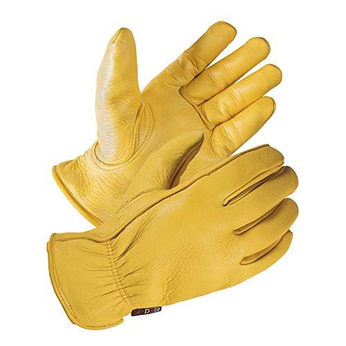 SKYDEER Full Premium Genuine Deerskin Leather Hi-Performance Utility Driver Work Gloves (SD2210/L, Unlined)