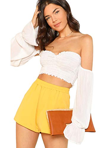 Floerns Women's Off Shoulder Long Sleeve Crop Top Blouse Tee A White M