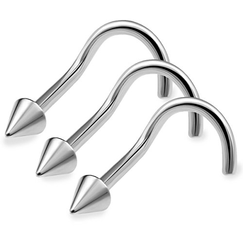 bodyjewellery 3pcs 20g 0.8mm Nose Screw Rings Nostril Stud Surgical Stainless Steel 2mm Cone Spike