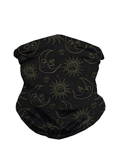 iHeartRaves Black Celestial Sun & Moon Neck Gaiter Face Scarf Mask Bandana