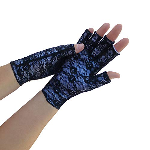 Classy Pal Arthritis Compression Gloves for Women & Men, Typing Computer Gloves for Hands Pain Relief from Rheumatoid, Raynauds & Carpal Tunnel, Fingerless, Comfy, Breathable, Sweat Wicking (Lace, M)