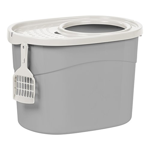 IRIS USA Top Entry Cat Litter Box with Cat Litter Scoop, Gray/White TECL-20