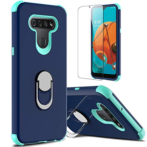lovpec LG K51 Case with Soft TPU Screen Protector, Ring Holder Kickstand Shockproof Protective Phone Cover Case for LG K51/LG Q51/LG Reflect/LG LM-K500UM (Navy)