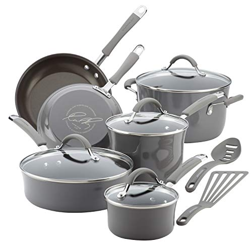 Rachael Ray Cucina Nonstick Cookware Pots and Pans Set, 12 Piece, Sea Salt Gray