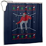 ENXIANGXIJ Waterproof Polyester Fabric Shower Curtain Hotline Bling Santa Drake Dancing Christmas Knit Pattern Print Decorative Bathroom Curtain with Hooks,72'' X 72
