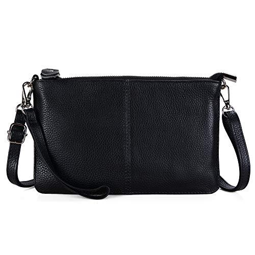 Befen Women's Genuine Smartphone Leather Wristlet Crossbody Wallet Purses and Handbags Mini Crossbody Bag Clutch Wallet with Crossbody Strap - Black