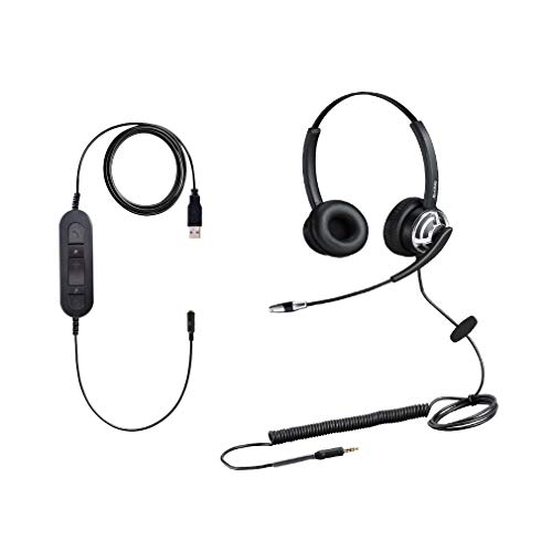3.5mm USB Laptop Headset PC Headphone USB with Microphone for Dragon Avaya Teams Skype Wired Two Ears Cell Phone Headset for Cellphone Mobiles Tablet BlackBerry Samsung Huawei iPad MacBook