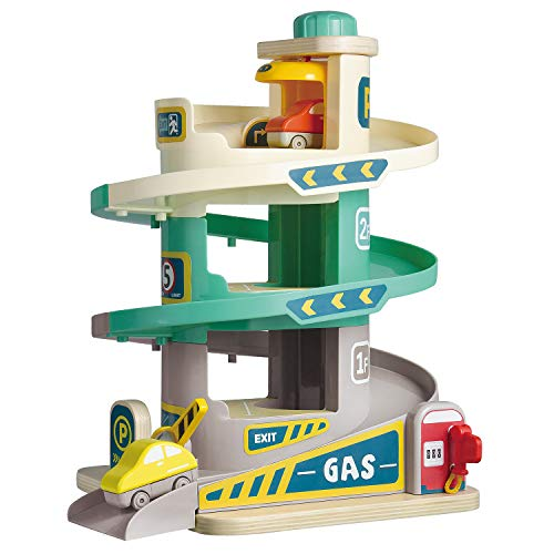 TOP BRIGHT Car Parking Garage Toy with Ramp and Elevator, Car Ramp Toy for 3 Year Old Boys and Girls Gift