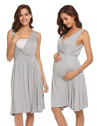 Ekouaer Hospital Gowns for Women,Pregnant V-Neck Maternity Nursing Sleepwear, 6858-grey, Large