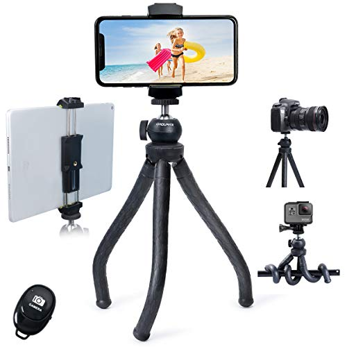 Endurax Tablet Tripod Compatible with iPad iPhone and Camera, Flexible Phone Tripod with Tablet Holder & Remote Shutter, Perfect for Facetime, Zoom Class, Vlogging, Video Recording
