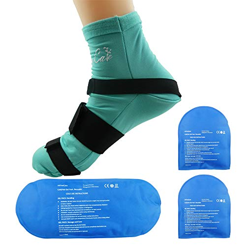 Cold Therapy Socks (w/Compression Strap) - Ice Pack Socks Man/Woman Cooling Socks Gel Ice Treatment for feet, Heels, Swelling, Arch Pain (Large) (Cold Therapy Socks)