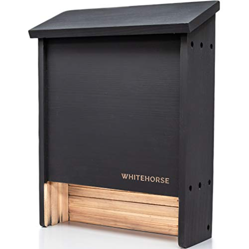 WHITEHORSE Premium Cedar Bat House - A 2-Chamber Bat Box That is Built to Last - Enjoy a Healthier Soil and a Greener Lawn While Supporting Bats (Black)