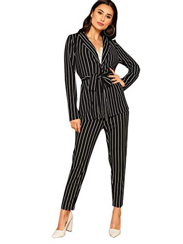 SheIn Women's Shawl Collar Belted Pinstripe Blazer and Cigarette Two Piece Pants Set Small