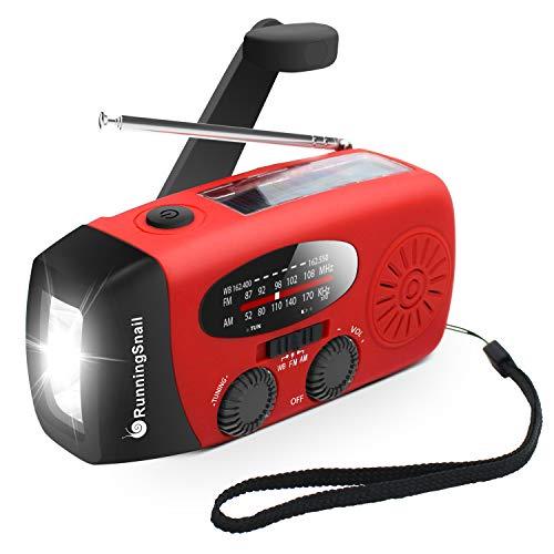 [Upgraded Version] RunningSnail Emergency Hand Crank Self Powered AM/FM NOAA Solar Weather Radio with LED Flashlight, 1000mAh Power Bank for iPhone/Smart Phone