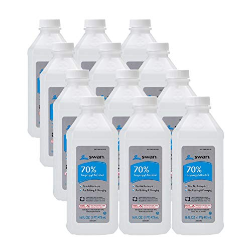 Swan 70% Isopropyl Alcohol First Aid Antiseptic, 16 Fl Oz (Pack of 12)