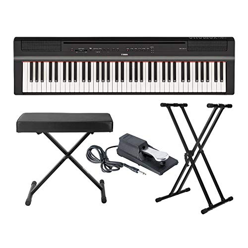 Yamaha P121B 73 Weighted Keys Digital Piano (Black) with Knox Gear Piano Bench, Stand and Sustain Pedal