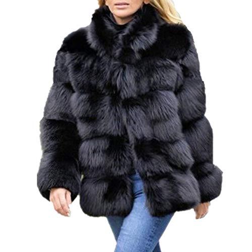 Women Winter Furs Coat Jacket Luxury Faux Fox Fur Coat Slim Long sleeve collar coat Faux Fur Coat Overcoat (4XL, Black)