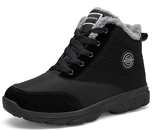 BomKinta Women's Snow Boots Keep Warm Surface Anti-Slip Soft Sole Warm Fur Lined Winter Ankle Booties Black Size 8