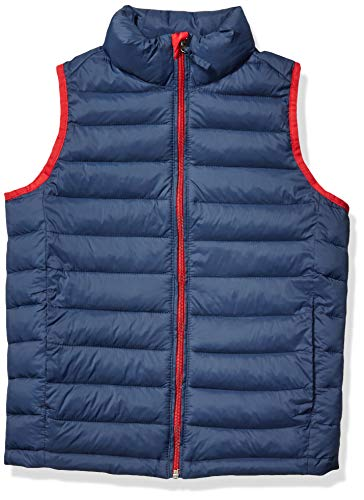 Amazon Essentials Kids Boys Light-Weight Water-Resistant Packable Puffer Vests, Navy/Red, X-Large