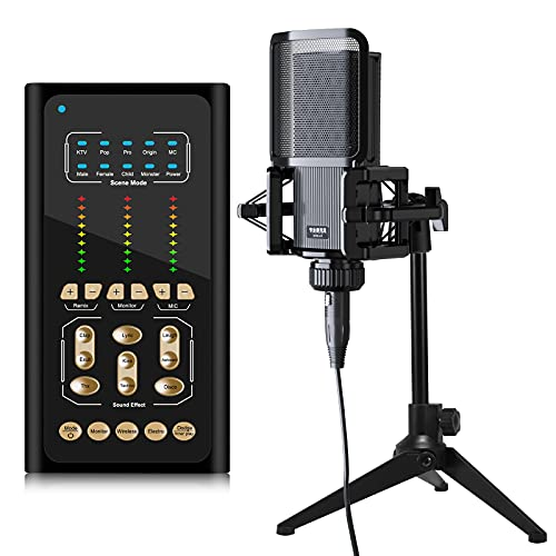 tenlamp Podcast Equipment Bundle, Studio Recording Condenser Microphone & Live Sound Card, USB Audio DJ Mixer Voice Changer Audio Interface Sound Board for Streaming Gaming Singing PC Tiktok YouTube