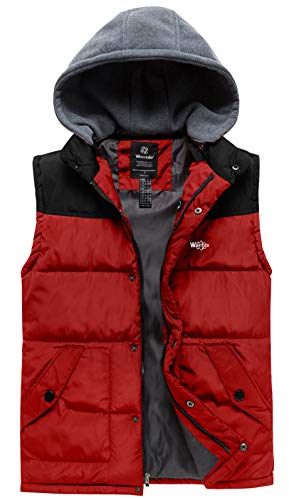 Wantdo Men's Plus Size Stand Collar Warm Padded Puffer Vest Jacket Black Red XL