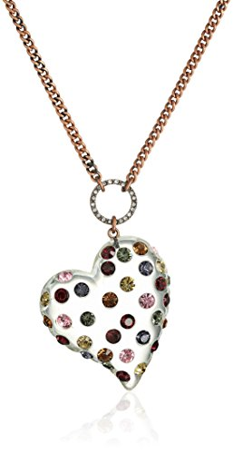 Betsey Johnson 'Confetti Mixed Multi-Colored Stone Lucite Heart Long Pendant Necklace
