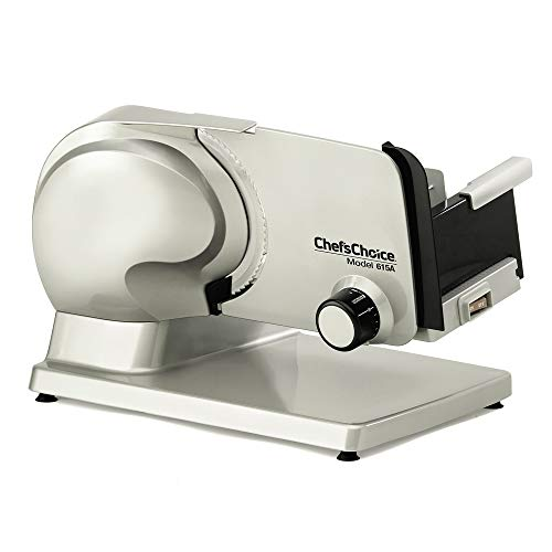 Chef'sChoice Electric Meat Slicer Features Precision thickness Control & Tilted Food Carriage For Fast & Efficient Slicing with Removable Blade for Easy Clean, 7-inch, Gray