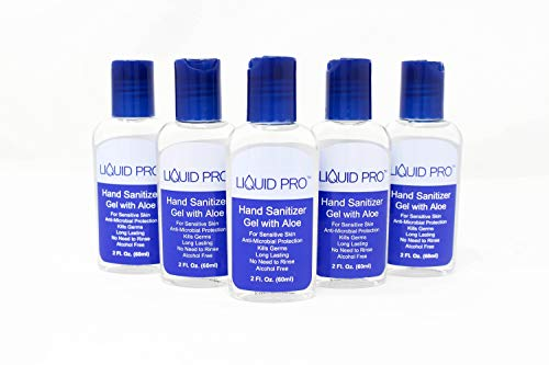 LIQUID PRO Hand Sanitizer Gel with Aloe 2oz, Alcohol Free, For Sensitive Skin, Kills Germs, No Need to Rinse, FDA Reg, Long Lasting, Travel Size, (Pack of 5)