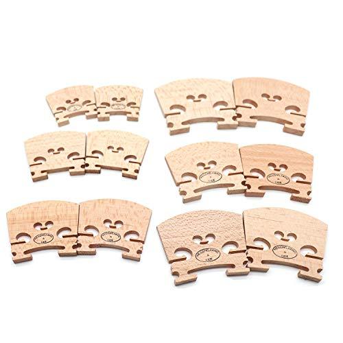 Timiy 6 Sets of 12 pcs Select Aged Violin Maple Bridge Fits for 1/16 1/8 1/4 1/2 3/4 4/4 Size Violin