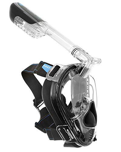 Deep Sea O2 | Only Full Face Snorkel Mask Designed to Protect Against Dangerous CO2 Build-Up for Adults & Kids | 180 View | Soft Nose for Diving | Anti-Fog | Camera Mount | Black