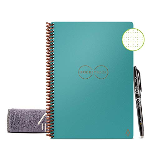 Rocketbook Smart Reusable Notebook - Dot-Grid Eco-Friendly Notebook with 1 Pilot Frixion Pen & 1 Microfiber Cloth Included - Neptune Teal Cover, Executive Size (6' x 8.8')