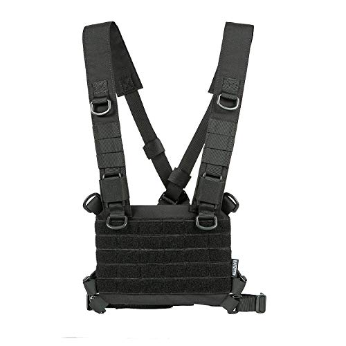 OneTigris ROC Chest Rig Tactical Modular Panel with Removable X Shoulder Strap and Mesh Backing (Black)