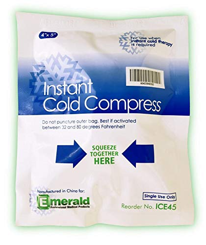 Emerald Instant Cold Compress Pack, First Aid Kit Requirement, Long Lasting, No Freezing Required, Pack of 6 Packs - Small (4' x 5')