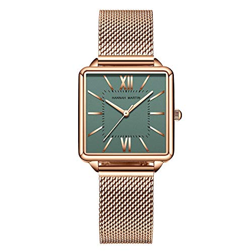 Ladies Classic Quartz Watch, Gold Analog Watch, Fashion Simple Waterproof Watch with Mesh Stainless Steel Watchband, Casual Dress Watch (Green)